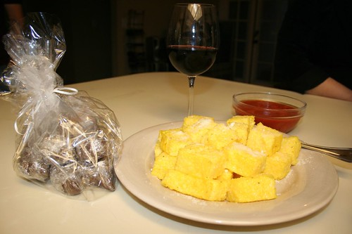 biscotti, red wine and polenta