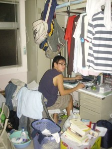 a college boy in his dorm
