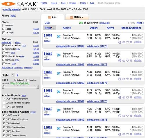 Kayak.com AUS - SFO - GVA