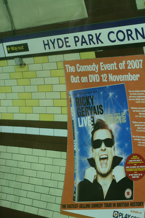 Ricky Gervais poster in london tube