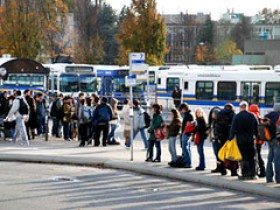 Students wait at the UBC North Bus Loop.