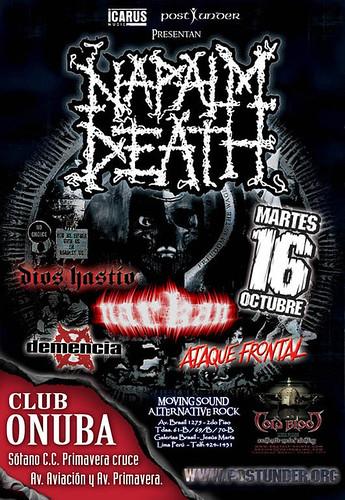 Afiche del concierto Napalm Death en Lima - Peru