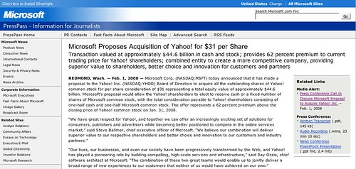 Microsoft Offers $44.6 Billions For Yahoo