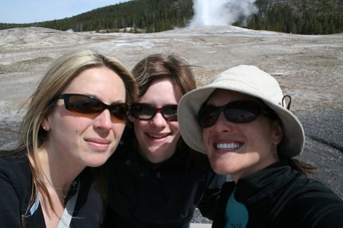 Girls at Old Faithful