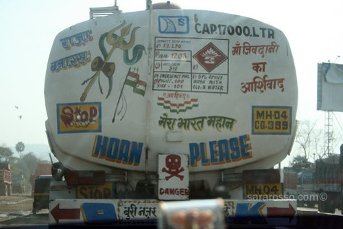 Many warnings on a truck in India