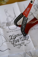 Leather toe clip sewing kit. Photo by Yohei Morita