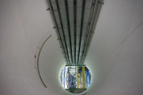 Looking down at collision chamber