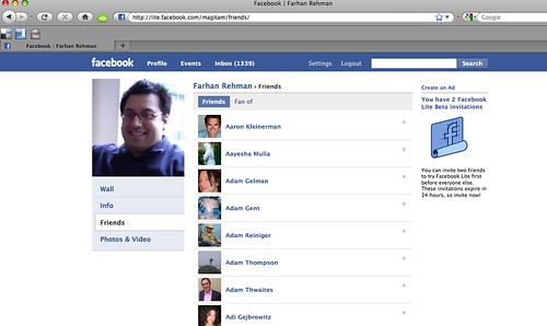 List of Friends in Facebook Lite