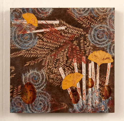 Mixed Media Collage - Ginko Leaves