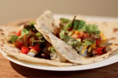 tacos in homemade tortillas