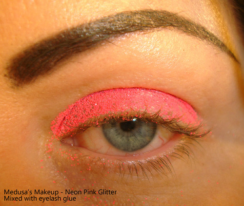 Medusa's Makeup Neon Pink Glitter on eyes