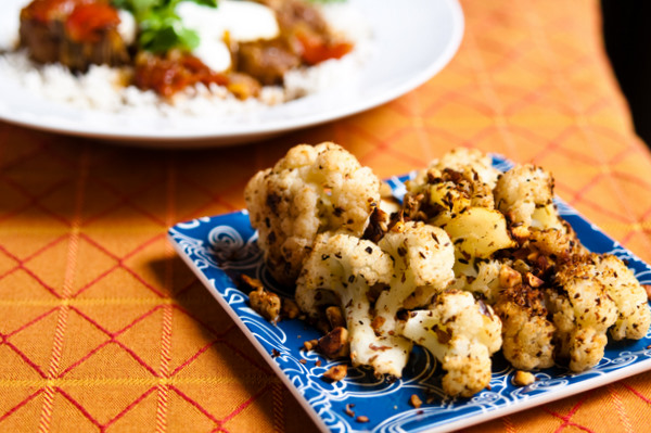 Roasted cauliflower with cumin, coriander and almonds
