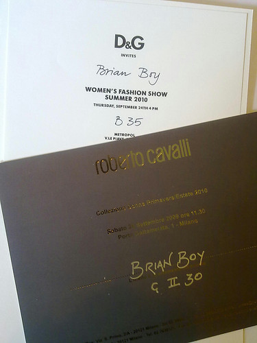 D&G and Roberto Cavalli Spring Summer 2010 fashion show invitations