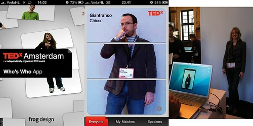 TEDxAmsterdam Mobile App screenshots. From left to right: Initial screen, me in the app, photo booth.