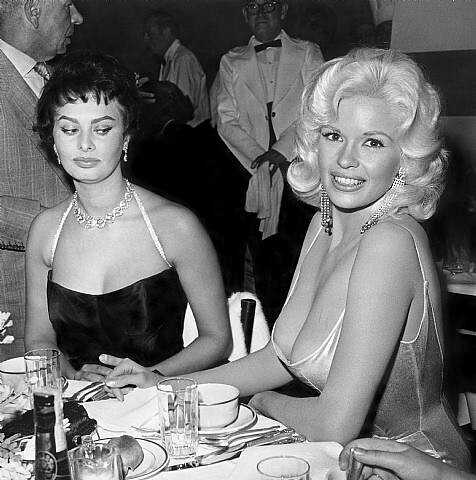 Sopia Loren and Jayne Mansfield at Romanoff's, 1957