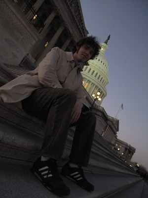 Matthew Hurst sits on the Capitol Steps in Washington, DC