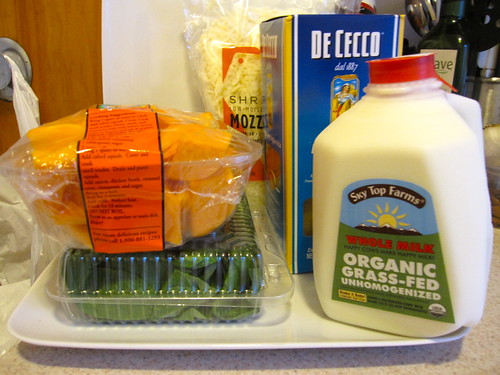 ingredients for the butternut squash lasagna