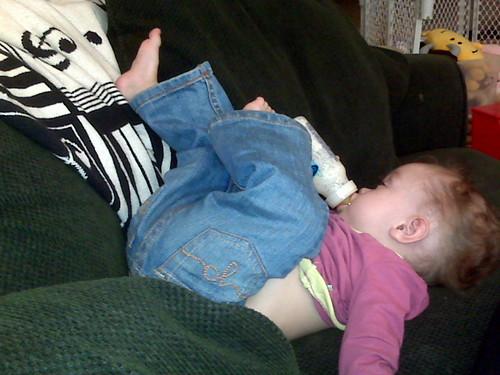 making herself comfortable