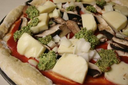 Mozarella, portabello, onion and pesto