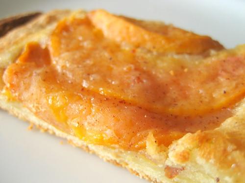almond peach brioche tart