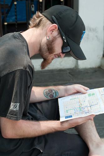 Shaun reading a map