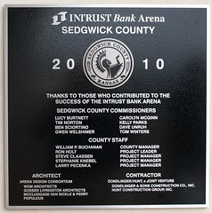 The commemorative plaque on the Intrust Bank Arena in downtown Wichita, Kansas.