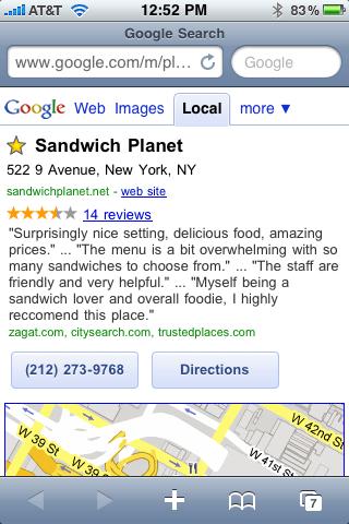 Sandwich Planet via Google Favorite Places