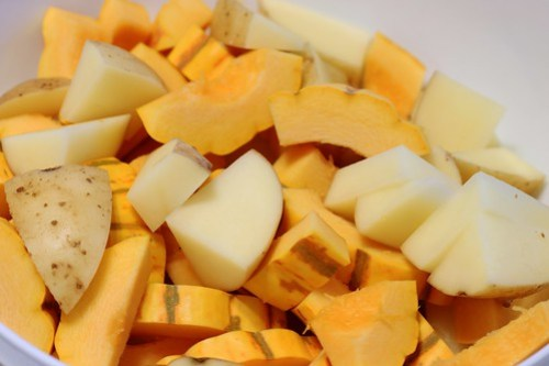 diced squash and potatoes