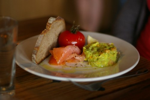 Smoked Salmon, Confit Tomato, Sourdough and Avocado Salsa