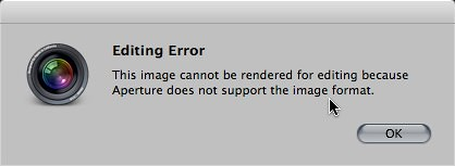 Editing Error in Aperture 3