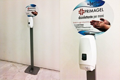 Hand cleaning product dispenser at Triennale di Milano