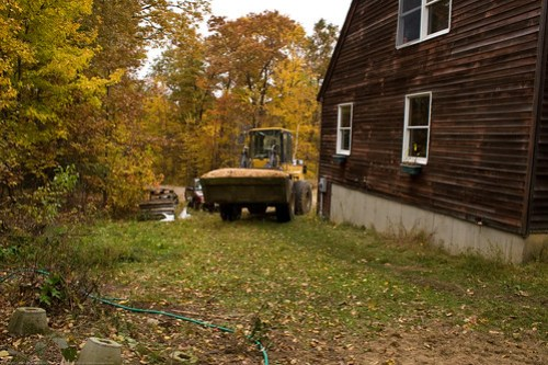 Permaculture: neighbor delivering shavings