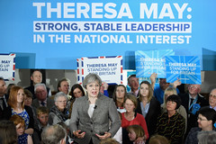 BANCHORY, SCOTLAND - APRIL 29:  Theresa May speaks at an election campaign rally on April 29, 2017 in Banchory, Scotland. The Prime Minister is campaigning in Scotland with the message that a vote for the Conservatives would strengthen the economy and the