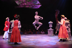 """(Center) Steve Schepis (Neleus) and cast perform """"Jolly Holiday"""" in Mary Poppins, produced by Music Circus at the Wells Fargo Pavilion July 8 - 13, 2014. Photos by Charr Crail."""