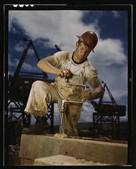 Carpenter at work on Douglas Dam, Tennessee (TVA) (LOC)