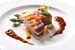 ahi tuna, black truffle vinaigrette, white anchovy potato arrostito, Sardinian bottarga and asparagus