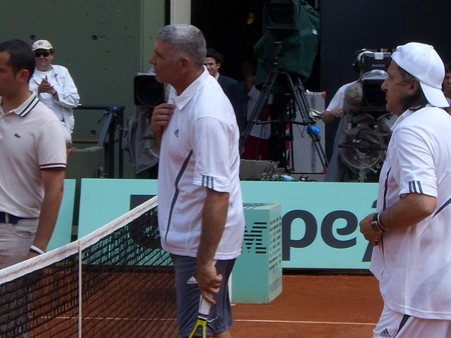 Andres Gomez and Ilie Nastase  1990 French Open: Opposites attract, Gomez defeats Agassi 2271925683 0942f53b41 z