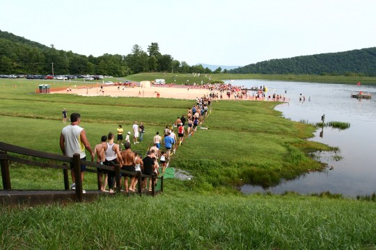 Luray Triathlon - heading down to swim start