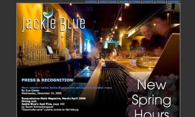 Jackie Blue Restaurant Web Site Design