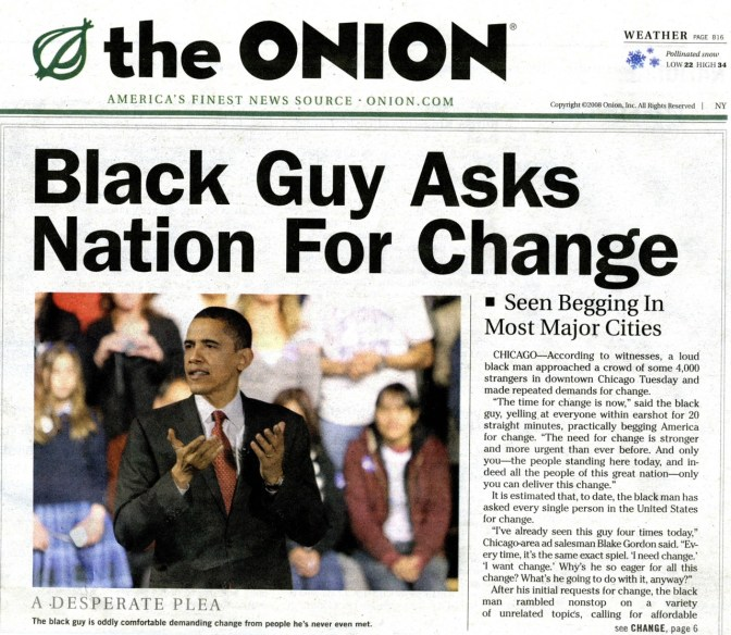 Black guy asks nation for change - the Onion