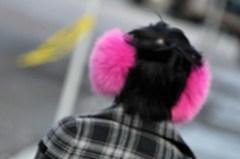 pink fluffy ear muffs