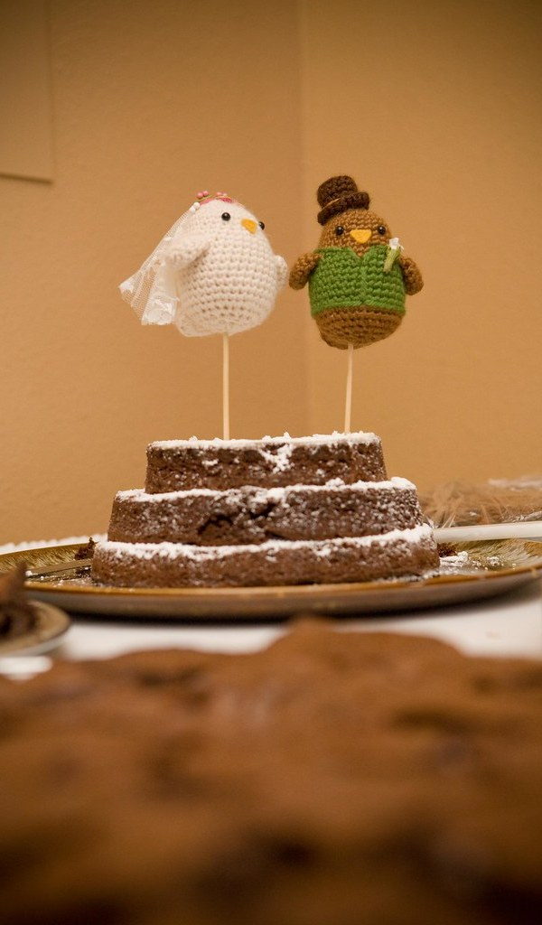 Brownie Cake & Crochet Bird Toppers