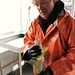 Steve introduces himself to a kelp greenling