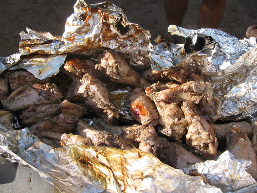 Foil-wrapped jerk chicken wings