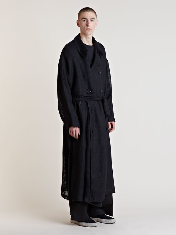Raf Simons Archive Men's SS06 Hessian Trench Coat In Black