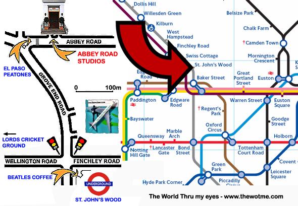 Plano de cómo llegar a la famosa calle Abbey Road