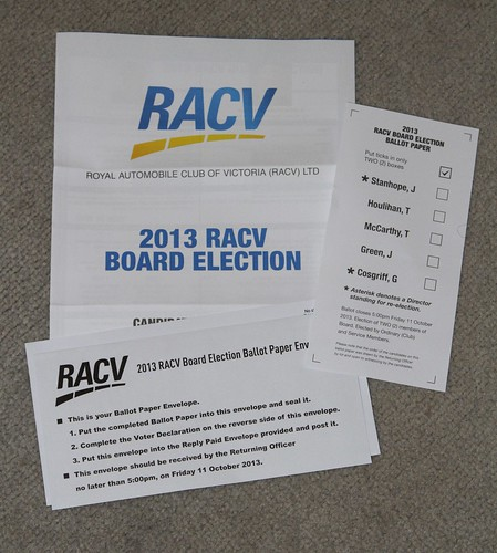 Ballot papers for the 2013 RACV Board Election