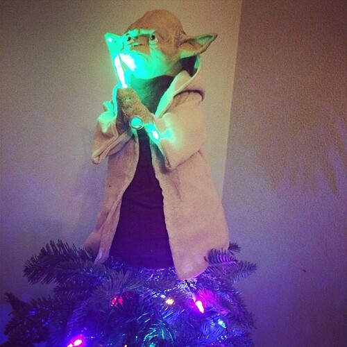 Tree is officially complete and ready for presents! #yoda #Christmas #maytheforcebewithyou