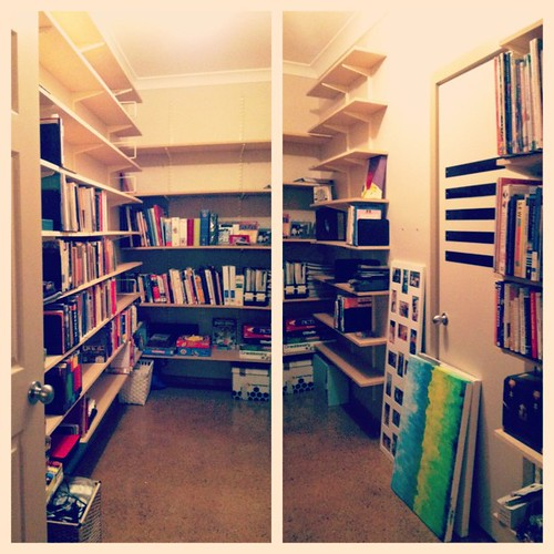 """So excited about this """"room"""" in the new house. My very own walk-in library/storage space!  :-)"""