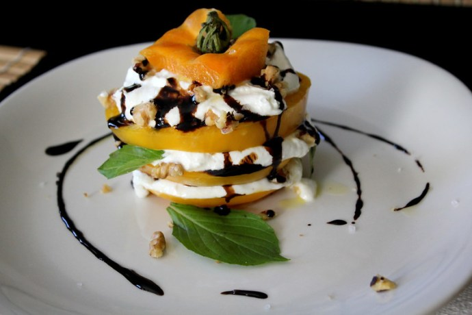 tomatoes and goat cheese stacks